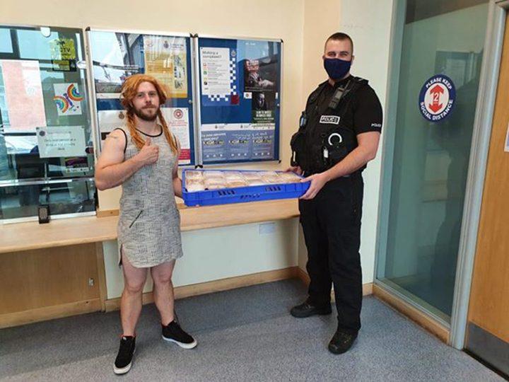Chris delivering to Preston Police