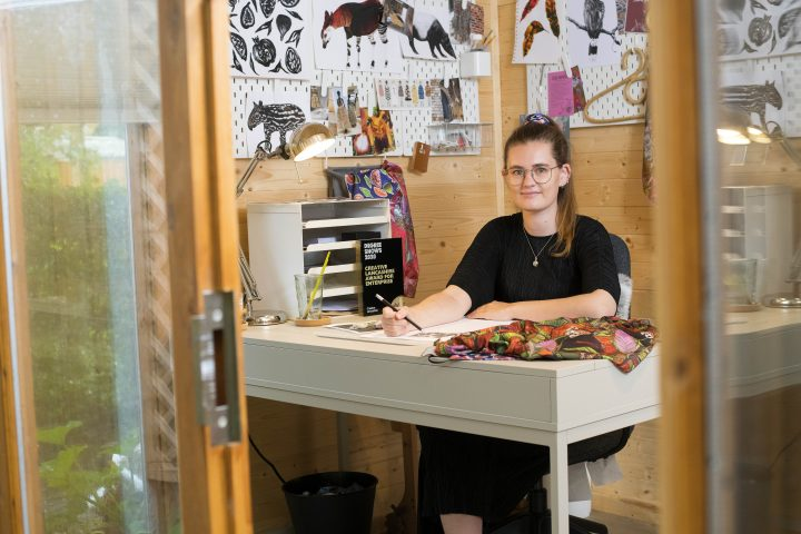 Jessica Kirkpatrick at work in her studio.
