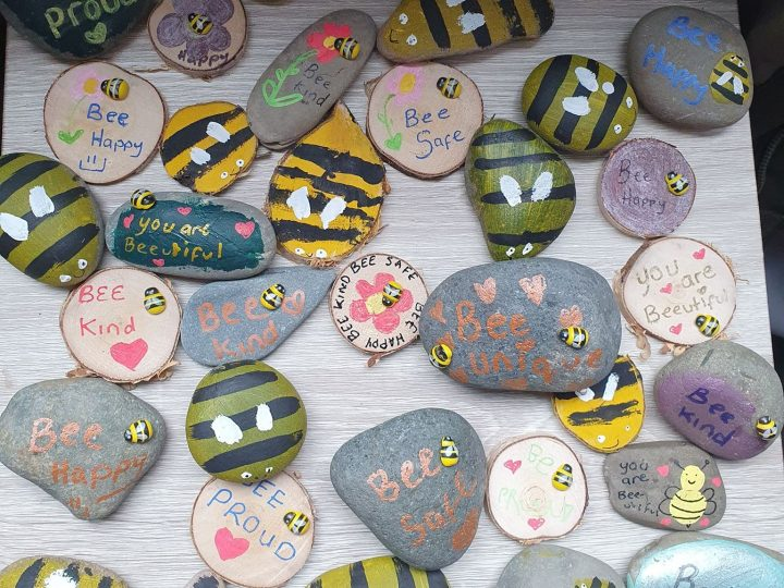 Niamh and her friends and family have painted and hidden over 400 motivational bee's around Preston