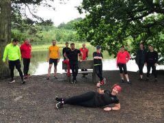 Ramona has a well-deserved lie down after completing her 100th parkrun in 100 days