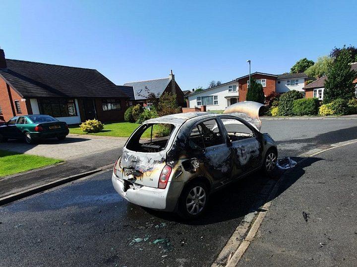 The Nissan Micra was set alight near Hurst Park