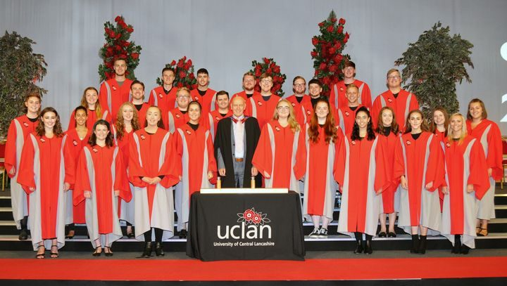 UCLan Chamber Choir pictured with Musician in Residence and Choir Director Mark Goggins at the Summer 2019 graduation ceremony