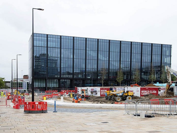 Work is still underway on the roads outside the new Engineering Innovation Centre