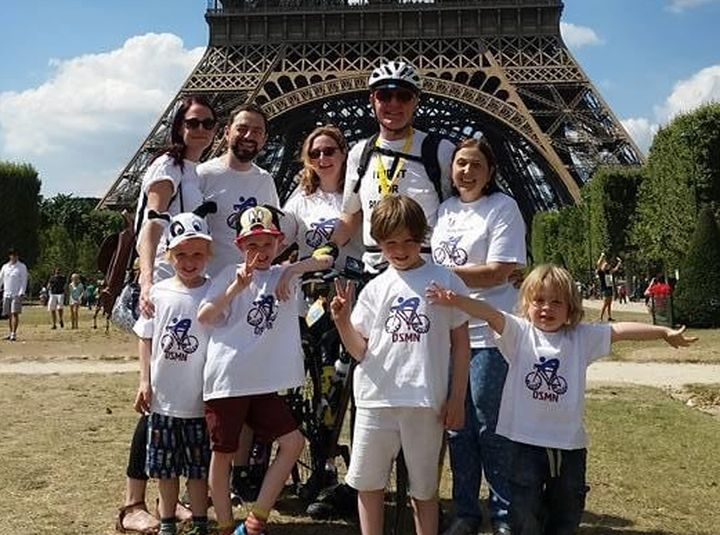 John with his family before his first fundraising challenge in Paris