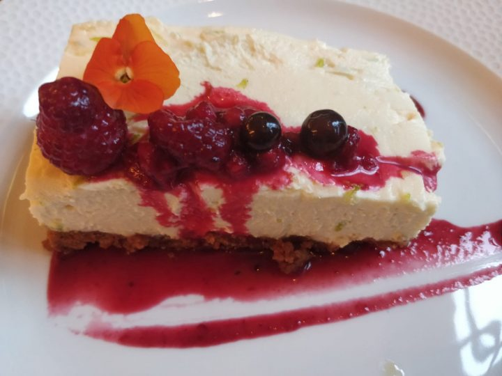 Passionfruit and berry cheesecake
