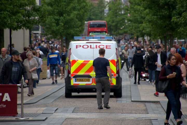 Preston Police down Fishergate. Pic: Tony Worrall