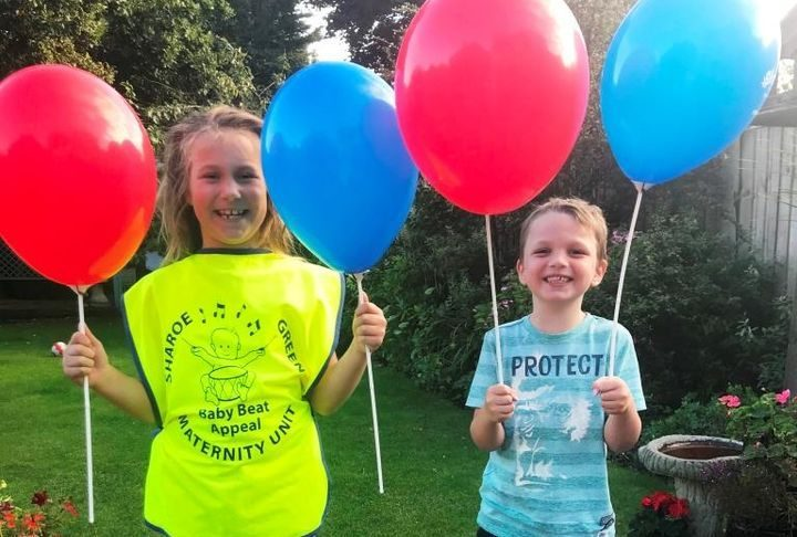 Freya and Mikey Clark ready for the balloon race
