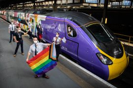 Avanti West Coast Pride train staffed by all LGBTQ+ crew.