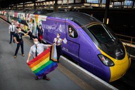 Avanti West Coast Pride train staffed by all LGBTQ+ crew.