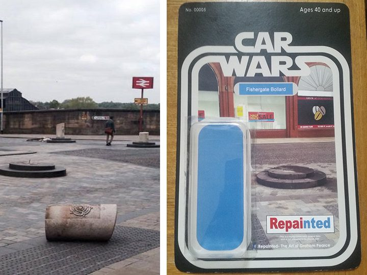 The Car Wars Fishergate Bollard Pic: Wayne Ashworth
