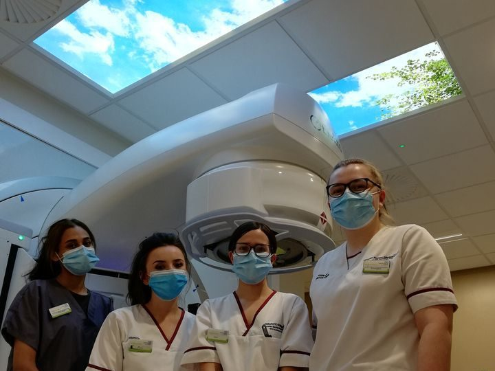 Ceiling lights for radiotherapy patients