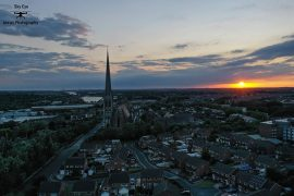 Drone shot of St Walburge's at sunset Pic: Sky Eye Aerial Photography