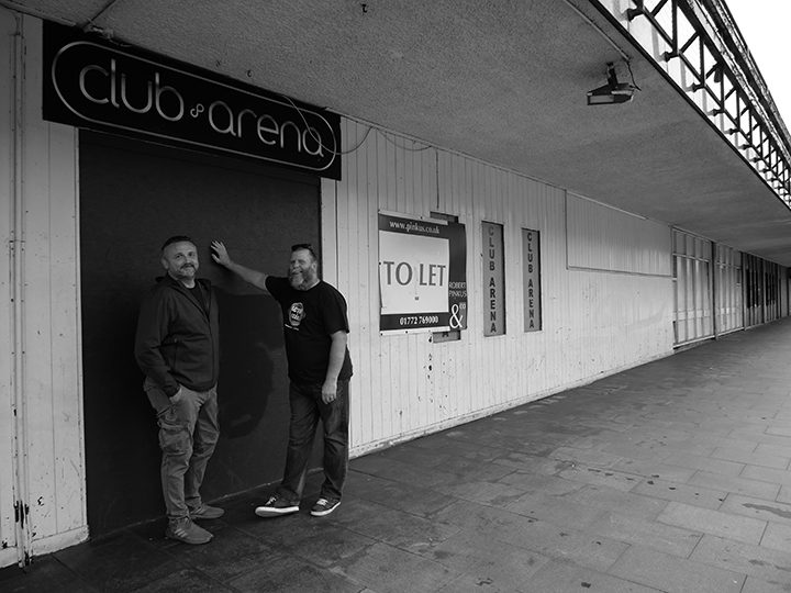 Greg and Pete outside the old Lord Byrons building in August 2020 Pic: Lisa Brown