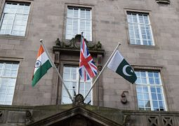 India and Pakistan flags above Town Hall