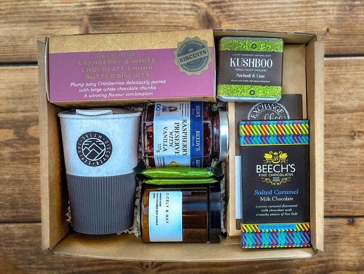 One of the boxes which includes products from Beeches Chocolate
