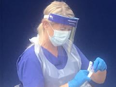 Woman finishing coronavirus test