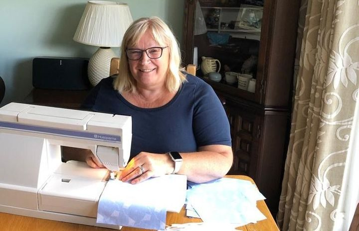 Judith Nuttall at her sewing machine