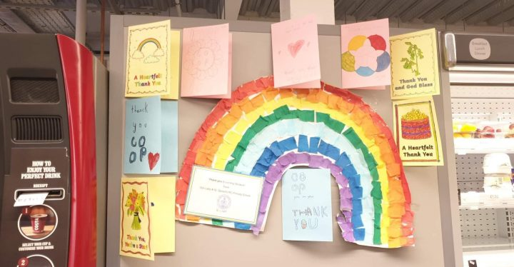 Thank you cards and rainbows, colour by children during lockdown