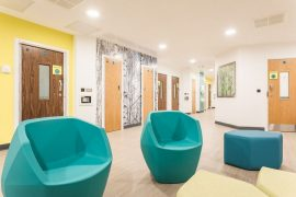 The modern and peaceful interior of the Skylark Centre