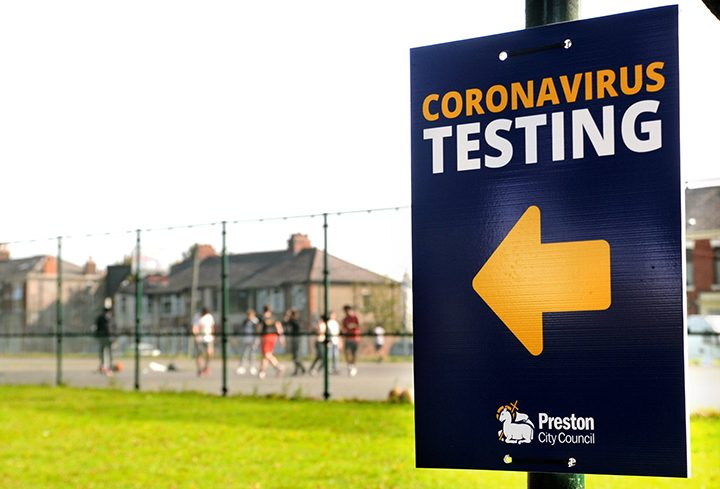 A sign at former community coronavirus testing centre in Preston Pic: Donna Clifford