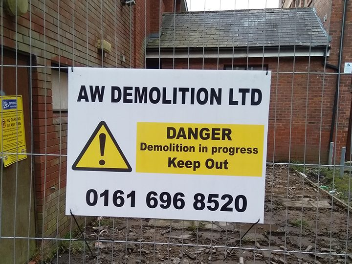 Demolition signs have gone up at the site Pic: Stephen McKay