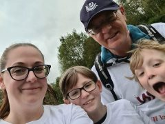 John and daughter Leonie with Oscar and Sid on the Guild Wheel walk