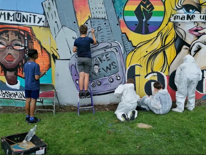The new Smiths rec Foxton Centre mural.