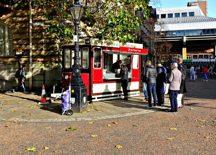 The Hot Potato Tram in action on the Flag Market Pic: Tony Worrall