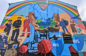 A mural at the Northern Way pub about coronavirus Pic: Tony Worrall