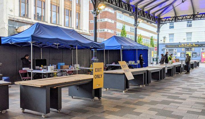 The coronavirus testing site at Preston Markets Pic: Tony Worrall
