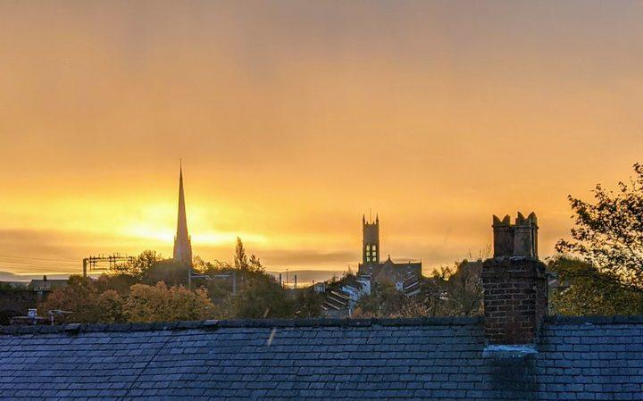 Sunrise over Preston on Friday 23 October Pic: Tony Worrall