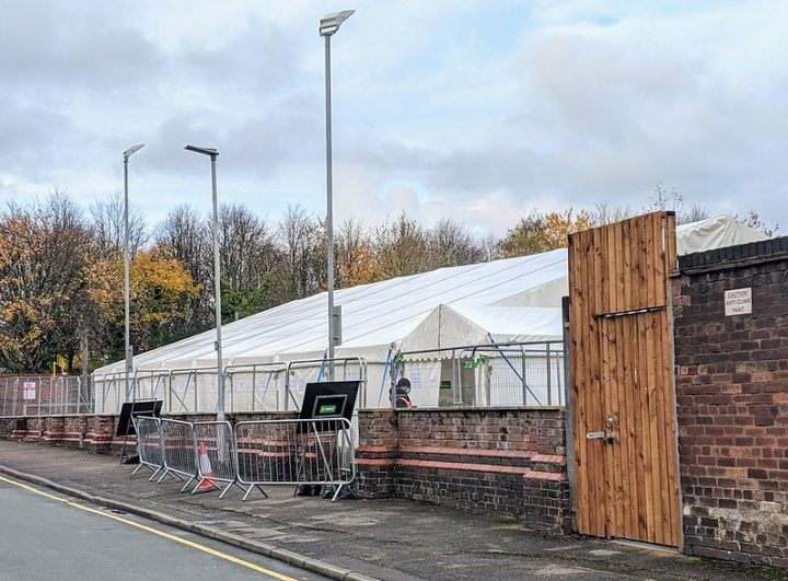 The city's coronaviorus testing centre in Vernon Street Pic: Tony Worrall
