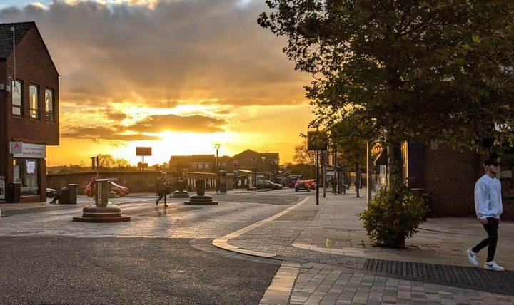 The sun setting in Preston city centre during Saturday 31 October Pic: Tony Worrall