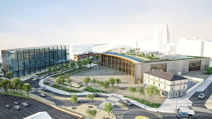 An artist's impression of the completed EIC, Student Centre and Highways scheme 2