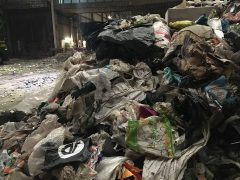 Contaminated waste full of unrecylable plastic bags and bin liners