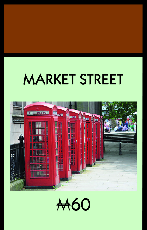 The famous Market Street red phone boxes also made it to the board