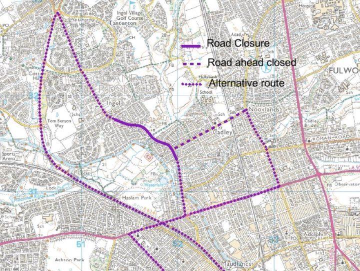 Road closures on Woodplumpton Road and Tag Lane Pic: Twitter