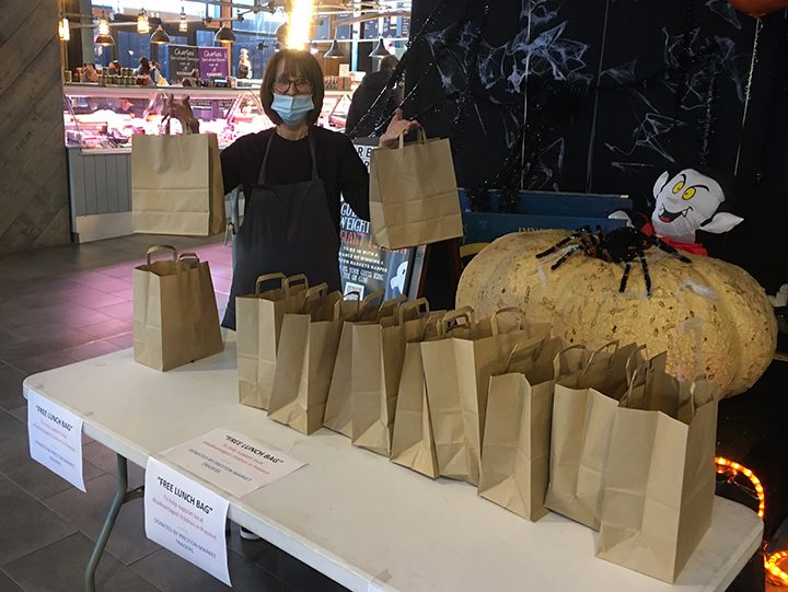 Julie Fausset from Brew + Bake with the lunch bags Pic: Preston Markets