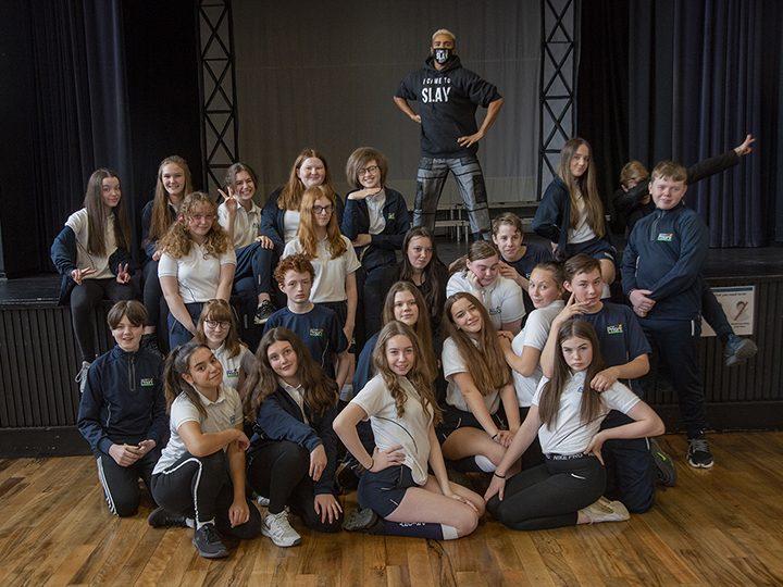 Layton Williams with Penwortham Priory Academy pupils