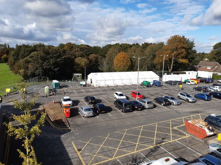 NHS Covid-19 local test centre in the council's Civic Centre car park on West Paddock, Leyland