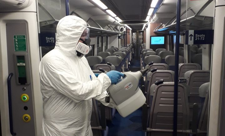 Overnight cleaning on a transpennine express train