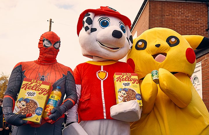 Spiderman, Marshall and Pikachu collecting cereal and more Pic: Mark McLoughlin
