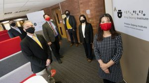 (L-R) UCLan representatives David Leemington, Dr Ed Griffith, Daniel Waller, Professor Niki Alsford, Dr Sojin Lim, and Dr Hye-Young Park at the official opening of the Sejong Institute on the University's Preston campus