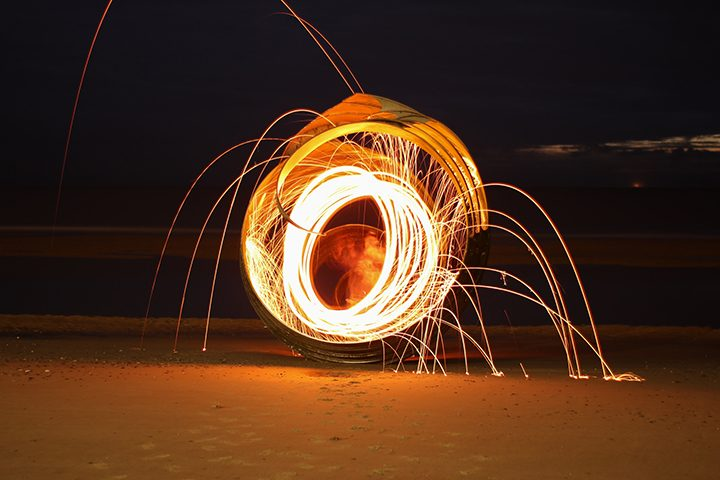 The wire wool alight Pic: @benjaminb_photography