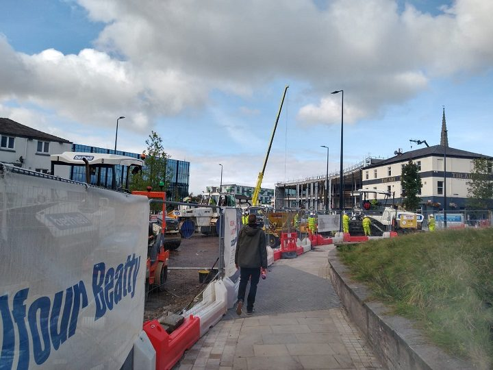 Work ongoing at the former Adelphi roundabout near UCLan's campus Pic: Blog Preston