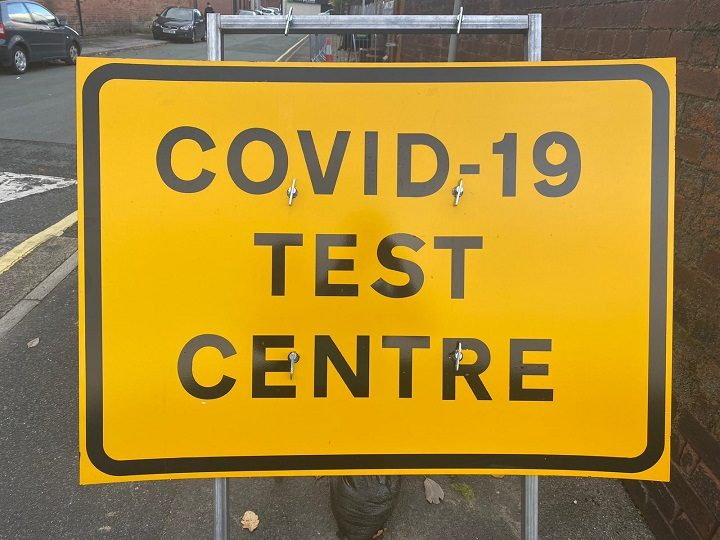 Sign outside the Preston Covid-19 test centre close to the UCLan campus Pic: Blog Preston