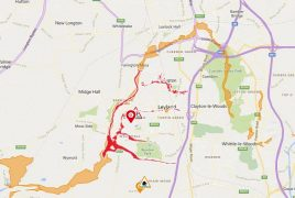 Areas in Leyland covered by the flood warning (red) and the flood alerts (orange) Pic: Environment Agency