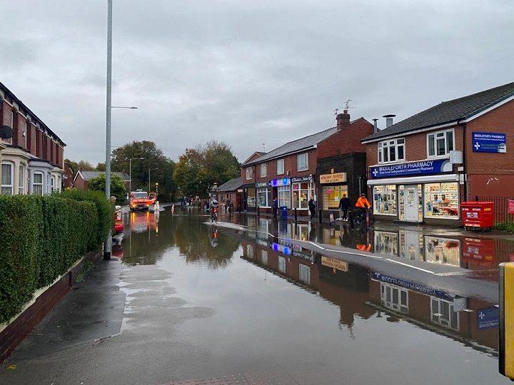 Leyland Road in Penwortham saw flooding during heavy rain on Thursday Pic: Blog Preston