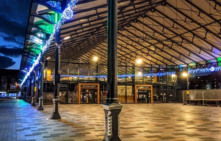 Christmas lights on Preston's Market Hall and canopy Pic: Tony Worrall