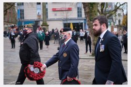 A reminder of the pandemic at the Remembrance Service in Preston Pic: Paul Melling